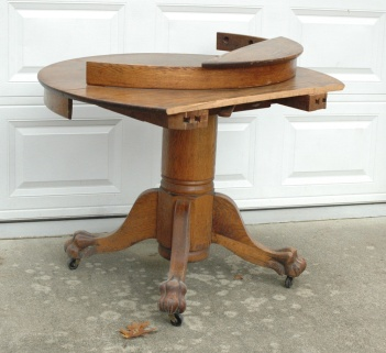Broken oak table